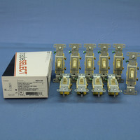 10 Hubbell Bryant RESIDENTIAL Ivory Single Pole Toggle Wall Light Switches 15A RS115I
