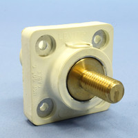 "Leviton White Female Cam Plug 1.125"" Threaded Stud Panel Receptacle 16 Series with Mounting Plate 400A 600V 16R24-11W"