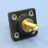 "Leviton Black Female Cam Plug 1.25"" Threaded Stud Panel Receptacle 16 Series with Mounting Plate 400A 600V 16R24-12E"