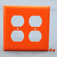 Pass & Seymour TradeMaster Orange 2-Gang Outlet Cover Duplex Receptacle Thermoset Plastic Wallplate TP82-OR