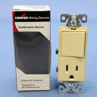 Cooper Ivory Combination Single Pole Decorator Rocker Wall Light Switch Receptacle Outlet NEMA 5-15R 15A 7730V