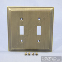 Leviton Brushed 2-Gang Oversized Stepped Brass Metal Switch Cover Wall Plate Switchplate 89609-STB