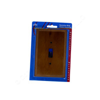 New Leviton Oak-Stained Pine Wood Toggle Switch Cover 1-Gang Wallplate 89201-POK