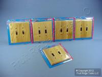 5 Leviton OAK Finished 2G Toggle Switch Cover Wallplate Switchplates 89209-OAK