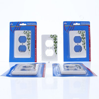 5 Leviton Green Vine Pattern Porcelain Receptacle Wallplate Duplex Outlet Covers 89503-GRN