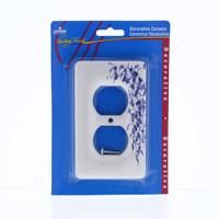 Leviton Blue Vine Pattern Porcelain Receptacle Wallplate Duplex Outlet Cover 89503-BL