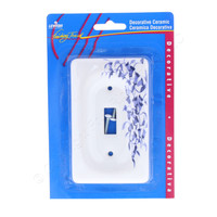 Leviton Blue Flower Porcelain Switch Cover Wall Plate Switchplate 89501-BL