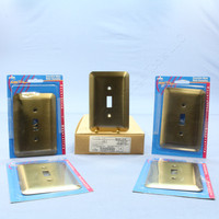 5 Leviton JUMBO Antique Brass Switch Covers Oversize Toggle Wall Plates 89301-ATB