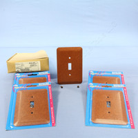 5 Leviton JUMBO Brown Leather Print Switch Covers Oversize Toggle Wall Plates 89301-BRL