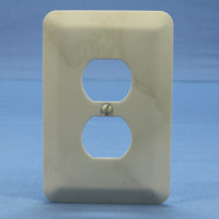 Leviton JUMBO Ivory Marble Steel Outlet Cover Oversize Receptacle 89303-IML