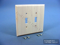 Leviton Whitewashed Wood 2-Gang Toggle Switch Cover Wallplate Switchplate 89209-CHR