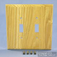 Leviton OAK Finished Wood 2-Gang Switch Cover Wallplate Switchplate 89209-OAK