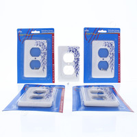 5 Leviton Blue Vine Pattern Porcelain Receptacle Wallplate Duplex Outlet Covers 89503-BL