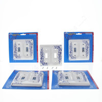 5 Leviton Blue Vine Pattern 2-Gang Porcelain Switch Cover Toggle Wall Plates 89509-BL
