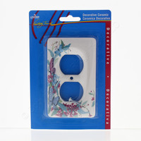Leviton Butterfly Pattern Porcelain Receptacle Wallplate Duplex Outlet Cover 89503-FLY