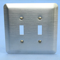 Leviton 2-Gang JUMBO Satin Chrome Switch Cover Oversize Toggle Wall Plate 89309-SSS