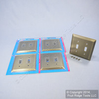 5 Leviton Brushed 2-Gang Oversized Stepped Brass Metal Switch Cover Wall Plate Switchplates 89609-STB