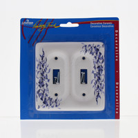 Leviton Blue Vine Pattern 2-Gang Porcelain Switch Cover Toggle Wall Plate 89509-BL