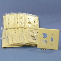 25 Cooper Mid-Size Ivory 2-Gang Combination Switch Receptacle Wallplate Outlet Covers 2038V