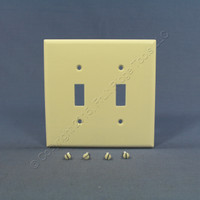 2 Cooper Almond Mid-Size 2-Gang Switch Cover Thermoset Wall Plate Switchplates 2039A