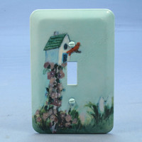 Leviton Baby Blue Bird House Wall Plate Switch Metal Cover Switchplate 89001-BIH