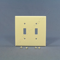 Cooper Light Almond Mid-Size 2-Gang Switch Cover Thermoset Wall Plate Switchplate 2039LA