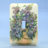 Lilac Flower Wallplate Toggle Switch 1-Gang Metal Cover Switchplate 89001-LIL