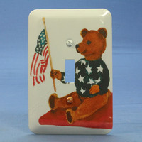 Leviton Patriotic Teddy Bear w/ American Flag Wallplate Toggle Switch Metal Cover Switchplate 89001-ATB