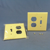 2 Cooper Mid-Size Ivory 2-Gang Combination Switch Receptacle Wallplate Outlet Covers 2038V
