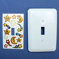 Leviton White Plates w/ Star and Moon Stickers Wall Plate Switch Cover Switchplate 89001-STK