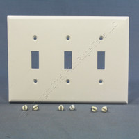 Eagle White Standard Grade Mid-Size 3-Gang Toggle Switch Cover Wallplate 2041W