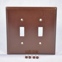 Cooper Brown Mid-Size 2-Gang Switch Cover Thermoset Wall Plate Switchplate 2039B