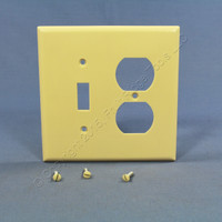 Cooper Mid-Size Ivory 2-Gang Combination Switch Receptacle Wallplate Outlet Cover 2038V