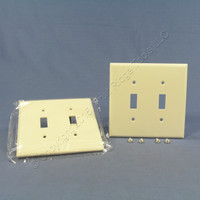 2 Cooper Light Almond Mid-Size 2-Gang Switch Cover Thermoset Wall Plate Switchplates 2039LA