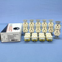 10 Hubbell Light Almond TAMPER RESISTANT Residential Straight Blade Duplex Receptacle Outlets 5-15 15A 125V RR15SLATR