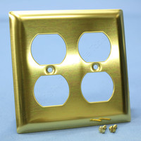 P&S Solid Polished Brass 2-Gang Duplex Receptacle Wallplate Outlet Cover SB82-PB