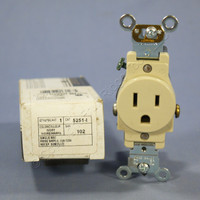 New Leviton Ivory Industrial Single Outlet Receptacle NEMA 5-15R 15A 125V 5251-I