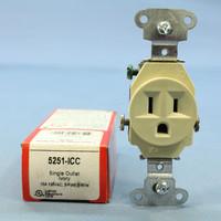 Pass & Seymour Ivory Spec Grade Receptacle Single Outlet 15A 125V Bulk 5251-I