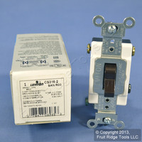 New Leviton Brown 3-Way COMMERCIAL Toggle Wall Light Switch 15A CS315-2 Boxed