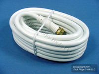 New Leviton White 12' Coaxial Video Cable w/ GOLD PLUG Ends RG59 C5851-12G-847