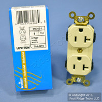 Leviton Ivory LEV-LOK INDUSTRIAL Receptacle Duplex Outlet 20A M5362-I Boxed