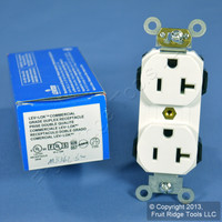 New Leviton White LEV-LOK INDUSTRIAL Receptacle Duplex Outlet 20A M5362-SW Boxed