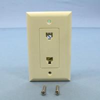 Pass and Seymour Light Almond Plastic Flush Dual Decorator Phone Jack Telephone Wallplate 1-Gang Insert 26TE24-LA