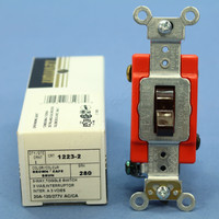 New Leviton Brown INDUSTRIAL Grade 3-Way Toggle Light Switch 20A 1223-2 Boxed