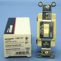 Cooper Ivory Single Pole Quiet Toggle Switch Control COMMERCIAL 15A 120/277V CSB115V
