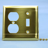 Pass & Seymour Brushed Solid Brass 2-Gang Toggle Switch Cover Outlet Wallplate LINED SB18-D