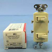 Pass & Seymour Ivory COMMERCIAL Grade Single Pole Dual Duplex Decorator Toggle Light Wall Switch 15A 120V 680-I
