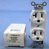 Pass and Seymour White Construction Grade Straight Blade Duplex Outlet Receptacle NEMA 5-20R 20A 125V CRB5362-W