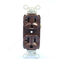Pass and Seymour Brown Construction Grade Straight Blade Duplex Outlet Receptacle NEMA 5-20R 20A 125V CRB5362