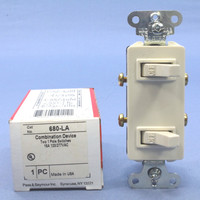 Pass & Seymour Light Almond COMMERCIAL Grade Single Pole Dual Duplex Decorator Toggle Light Wall Switch 15A 120V 680-LA
